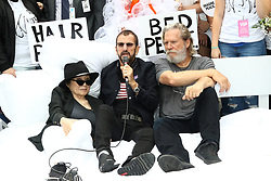 Yoko Ono, Ringo Starr and Jeff Bridges attend the Fifth Annual Come Together: NYC bed-in Celebration at City Hall in New York City.