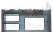 Japanese postoffice bank envelope send by registered mail  opened for mailing a bank card