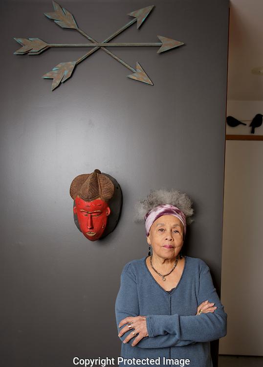 Betye Saar in her studio in Los Angeles, CA. March 1st, 2019. Photo by ©David Sprague 2019