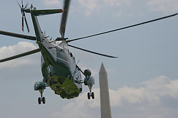 Marine One, with United States President Barack Obama and members of the first family aboard, departs the White House in Washington, DC, USA, on Saturday, August 6, 2016 to travel to Martha's Vineyard, Massachusetts for their annual two week vacation. Photo by Ron Sachs/Pool/ABACAPRESS.COM
