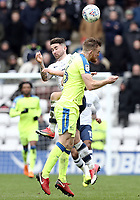 Preston North End's Sean Maguire vies for possession with Derby County's Alex Pearce<br /> <br /> Photographer Rich Linley/CameraSport<br /> <br /> The EFL Sky Bet Championship - Preston North End v Derby County - Monday 2nd April 2018 - Deepdale Stadium - Preston<br /> <br /> World Copyright © 2018 CameraSport. All rights reserved. 43 Linden Ave. Countesthorpe. Leicester. England. LE8 5PG - Tel: +44 (0) 116 277 4147 - admin@camerasport.com - www.camerasport.com