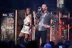 Sam Smith, Winnie Harlow and Calvin Harris perform at the 2019 Brit Awards at the O2 Arena.<br /><br />20 February 2019.<br /><br />Please byline: Vantagenews.com