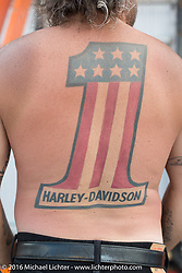Mark Laske of Hometown, IL shows off his Harley Number 1 tattoo during the annual Sturgis Black Hills Motorcycle Rally. SD, USA.  August 12, 2016.  Photography ©2016 Michael Lichter.