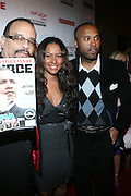 """l to r: Ice T,  Valiesha Butterfield, and Londell McMillanm at The Russell Simmons and Spike Lee  co-hosted""""I AM C.H.A.N.G.E!"""" Get out the Vote Party presented by The Source Magazine and The HipHop Summit Action Network held at Home on October 30, 2008 in New York City"""