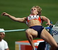 Friidrett, 6. august 2005, VM Helsinki, <br /> World Championship in Athletics<br /> Laurien Hoss, Ned, heptathlon, hig jumps