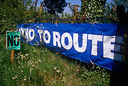Protest signs erected by locals of the Darenth Valley in rural Kent, against the forthcoming Channel Tunnel rail link in 1989. After a well-organised campaign, locals sought to reverse decisions by British Rail to cut a new rail link. Locals from South Darenth - Horton Kirby in rural Kent, protested in Trafalgar Square, London against the forthcoming Channel Tunnel rail link in 1989. British Rail announced that 150mph TGV trains would travel through their rural Kent countryside, forcing residents to sell their homes within a 240 metre corridor to the rail line, at great loss while splitting up the community.