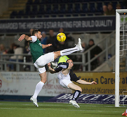 Hibernian's Darren McGregor and Falkirk's Bob McHugh. Falkirk 0 v 1 Hibernian, Scottish Championship game played 20/10/2015 at The Falkirk Stadium.