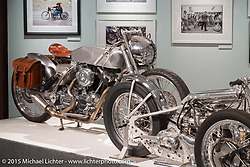 """Brian Klock's custom raw Evo bagger in Michael Lichter's annual Motorcycles as Art Show """"Naked Truth"""" at the Buffalo Chip during the 75th Annual Sturgis Black Hills Motorcycle Rally.  SD, USA.  August 6, 2015.  Photography ©2015 Michael Lichter."""