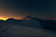 First light of the dawn in the mountain at winter