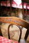 The back of a chair in Cafe Riche, Cairo, Egypt