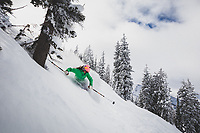Hannah Whitney skiing the Alta backcountry, Wasatch Mountains.