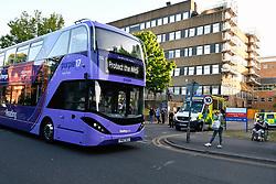 Reading bus, Protect the NHS support, during Coronavirus lockdown, Royal Berkshire Hospital UK May 2020