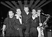 """Eurosong 1988.    (R74)..1988..06.03.1988..03.06.1988..6th March 1988..At the Olympia Theatre, Dublin the Eurosong contest was held last night. The winning song """"Take Him Home"""" penned by Peter Eades and performed by the group """"Jump The Gun"""". Peter Eades is the keyboard player with the group. As Ireland are the holders, thanks to Johnny Logans win Brussels, """"Jump The Gun"""" will represent Ireland at the Simmonscourt in April...Picture shows 'Jump The Gun' celebrating after their win in the Eurosong Contest. (L-R) Brian O'Reilly, Drums; Roy Taylor, Bass; Peter Eades, Composer/Keyboards; Erik Sharpe, Lead Guitar and Kieran Wilde, Sax"""