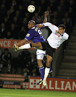 Photo: Paul Thomas. Leicester City v Derby County, Walkers Stadium, Leicester. Coca Cola Championship, 26/04/2005. Dion Dublin and Tom Huddlestone.