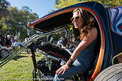 Kacy Waring in JP Rodman's Knucklehead trike at the Chemical Candy Custom's Boogie East Chopper Show at Annie Oakley's Saloon during Daytona Beach Bike Week. FL. USA. Friday March 17, 2017. Photography ©2017 Michael Lichter.
