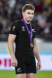 November 1, 2019, Tokyo, Japan: New Zealand's Beauden Barrett receives a bronze medal after winning the Rugby World Cup 2019 Bronze Final between New Zealand and Wales at Tokyo Stadium. New Zealand defeats Wales 40-17. (Credit Image: © Rodrigo Reyes Marin/ZUMA Wire)