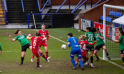 BIRKENHEAD, ENGLAND - Sunday, March 14, 2021: Liverpool's captain Niamh Fahey scores the first goal during the FA Women's Championship game between Liverpool FC Women and Coventry United Ladies FC at Prenton Park. Liverpool won 5-0. (Pic by David Rawcliffe/Propaganda)
