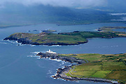 A view from the Fogher Cliffs on  Valentia Island with Valentia Lighthouse inn the foreground in County kerry, ireland.<br /> Picture by Don MacMonagle