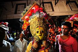 KATHMANDU, Sept. 14, 2016 (Xinhua) --  A masked dancer gets ready to perform on the first day of Indrajatra Festival at Hanumandhoka Durbar Square in Kathmandu, Nepal, Sept. 13, 2016. Nepalese celebrate the Indrajatra Festival to worship ''Indra'', the King of Gods according to the Hindu myth. (Xinhua/Sunil Sharma).****Authorized by ytfs* (Credit Image: © Sunil Sharma/Xinhua via ZUMA Wire)
