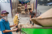 "15 NOVEMBER 2012 - PATHUM THANI, PATHUM THANI, THAILAND:  Workers unload trucks of rice bought from local farmers by the Thai government in a rice warehouse in Pathum Thani. The Thai government under Prime Minister Yingluck Shinawatra has launched an expansive price support ""scheme"" for rice farmers. The government is buying rice from farmers and warehousing it until world rice prices increase. Rice farmers, the backbone of rural Thailand, like the plan, but exporters do not because they are afraid Thailand is losing its position as the world's #1 rice exporter to Vietnam, which has significantly improved the quality and quantity of its rice. India is also exporting more and more of its rice. The stockpiling of rice is also leading to a shortage of suitable warehouse space. The Prime Minister and her government face a censure debate and possible no confidence vote later this month that could end the scheme or bring down the government.   PHOTO BY JACK KURTZ"