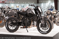 Ryan Stephen's custom 2014 KTM 690 Street Tracker in the Old Iron - Young Blood exhibition in the Motorcycles as Art gallery at the Buffalo Chip during the annual Sturgis Black Hills Motorcycle Rally. Sturgis, SD, USA. Wednesday August 9, 2017. Photography ©2017 Michael Lichter.