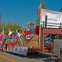 Tea Party conservatives ride a float during the 2011 Fourth of July parade in Butte, Montana.