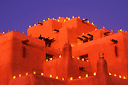 Image of The Inn at Loretto at dusk with farolitos, Santa Fe, New Mexico, American Southwest by Randy Wells