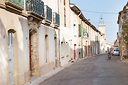 Domaine d'Aupilhac. Montpeyroux. Languedoc. France. Europe. The village street in front of the winery. A sign on the wall.