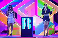 Clara Amfo and Maya Jama present the award for Breakthrough Artist during the Brit Awards 2021 at the O2 Arena, London. Picture date: Tuesday May 11, 2021.