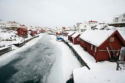 View of traditional village of Grundsund during winter on Bohuslan coast in Sweden