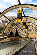 France, Paris, Georges Pompidou Center, escalator