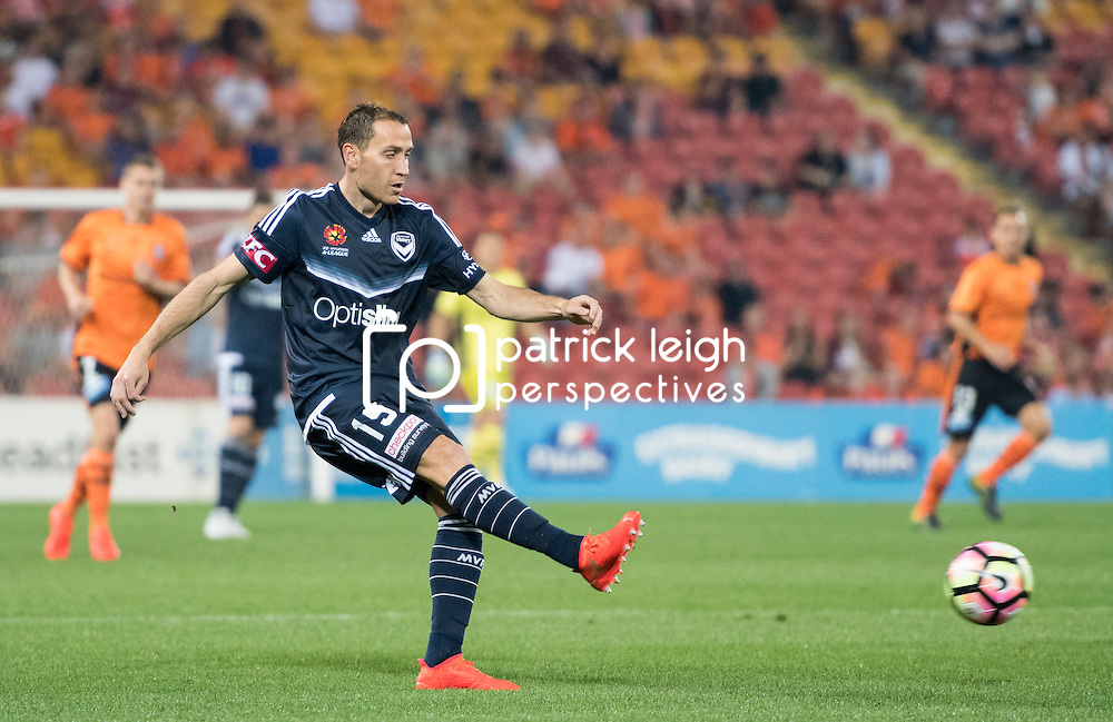 BRISBANE, AUSTRALIA - OCTOBER 7: Alan Baro of the Victory passes the ball during the round 1 Hyundai A-League match between the Brisbane Roar and Melbourne Victory at Suncorp Stadium on October 7, 2016 in Brisbane, Australia. (Photo by Patrick Kearney/Brisbane Roar)