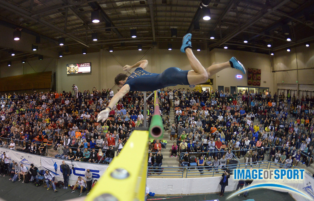 Jan 17, 2014; Reno, NV, USA; Renaud Lavillenie (FRA) wins the 25th UCS Spirit National Pole Vault Summit with a clearance of 18-10 1/4 (5.75m) at Reno Events Livestock Center.