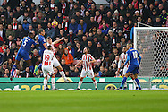Robert Huth of Leicester City heads the ball towards goal but sees his effort saved. Premier league match, Stoke City v Leicester City at the Bet365 Stadium in Stoke on Trent, Staffs on Saturday 17th December 2016.<br /> pic by Chris Stading, Andrew Orchard sports photography.