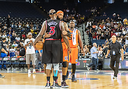 July 6, 2018 - Oakland, CA, U.S. - OAKLAND, CA - JULY 06: Drew Gooden (0) co-captain of 3's Company congratulates Al Harrington (3) co-captain of Trilogy after game 1 in week three of the BIG3 3-on-3 basketball league on Friday, July 6, 2018 at the Oracle Arena in Oakland, CA(Photo by Douglas Stringer/Icon Sportswire) (Credit Image: © Douglas Stringer/Icon SMI via ZUMA Press)