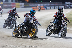 Roland Sands (#10) took the number 1 finish in the AMA Super Hooligan races at Daytona Speedway's Flat Track, but his good friend Cameron Brewer (#47) was right there on the podium with him. Daytona Bike Week's 75th Anniversary event. Ormond Beach, FL, USA. Thursday March 10, 2016.  Photography ©2016 Michael Lichter.