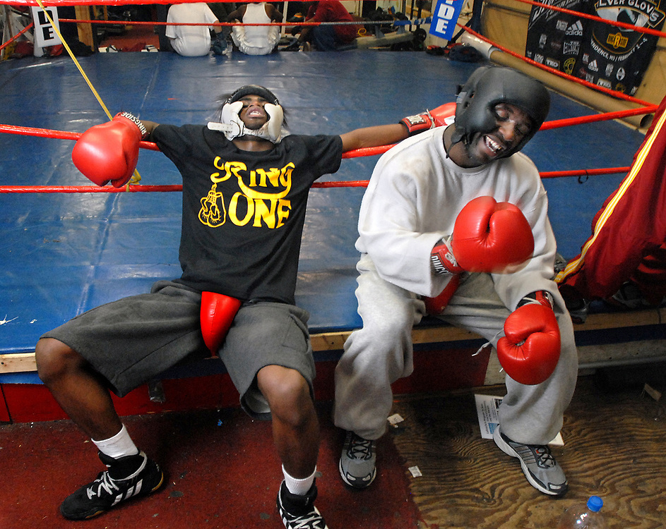 12/20/06 1Blackwell<br /> ML0323D<br /> David Williams of New Haven left and New Haven Police Officer Russell Blackwell after their sparring match at Ring One in New Haven. Photo by Mara Lavitt