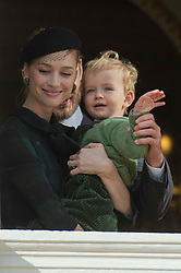Beatrice Borromeo and her son Stefano Ercole Carlo Casiraghi are attending the military procession held in the Palace Square, during the National Day ceremonies, Monaco Ville (Principality of Monaco), on november 19th, 2019. Photo by Marco Piovanotto/ABACAPRESS.COM