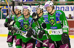 Anze Ropret, Egon Muric of Tilia Olimpija and Jure Kralj of Tilia Olimpija after the ice-hockey match in 33rd Round of EBEL league between HDD Tilia Olimpija Ljubljana and EC KAC, Klagenfurt, on December 18, 2009, in Arena Tivoli, Ljubljana, Slovenia. Olimpija defeated KAC 4:2. (Photo by Vid Ponikvar / Sportida)