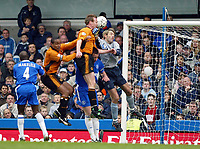 Photo: Scott Heavey. Digitalsport<br /> Chelsea v Wolverhampton Wanderers. FA Barclaycard Premiership. 27/03/2004.<br /> Jody Craddock connects with the ball to head in the second for Wolves