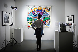 © Licensed to London News Pictures. 05/01/2018. Wakefield UK. Kerry Chase looks at the 1999 piece by the Chilean Community Association called 'the journey of our lives' at the new exhibition called Revolt & Revolutions is opening at Yorkshire Sculpture Park, drawn from the arts council collection, it gives an insight into counterculture & anti-establishment movements, and shows the work of artists who seek to make a difference- helping to suggest ways that we might contribute to change on an individual, community & global level. Photo credit: Andrew McCaren/LNP