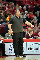 31 December 2008: Marty Simmons points out an infraction to the officials.  Illinois State University Redbirds extended their record to 13-0 with an 80-50 win over the Evansville Purple Aces on Doug Collins Court inside Redbird Arena on the campus of Illinois State University in Normal Illinois