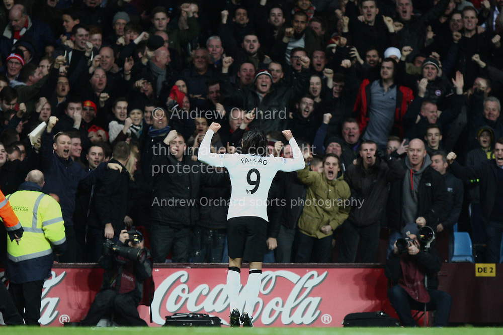 Radamel Falcao of Manchester United celebrates scoring his side's equalising goal. Barclays Premier league match, Aston Villa v Manchester Utd at Villa Park in Birmingham on Saturday 20th December 2014<br /> pic by Mark Hawkins, Andrew Orchard sports photography.