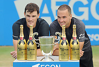 Tennis - 2017 Aegon Championships [Queen's Club Championship] - Day Seven, Sunday<br /> <br /> Men's Doubles, Final<br /> Jamie Murray [GBR] and Bruno Soares [Bra ]vs. Julien Benneteau [Fra] ans Edouard Roger - Vasselin [Fra]<br /> <br /> Jamie Murray [GBR] and Bruno Soares with the trophy on Centre Court <br /> <br /> COLORSPORT/ANDREW COWIE