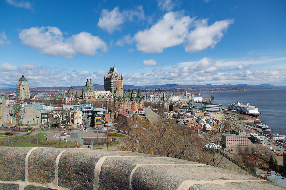 """The Citadelle of Quebec is a military installation and official residence of both the Monarch of Canada and the Governor General of Canada located atop Cap Diamant, adjoining the Plains of Abraham in Quebec City, Quebec, Canada. This citadel is part of the fortifications of Quebec City. The city of Quebec is the only one in North America with Campeche in Mexico that is still surrounded by fortifications.  The Citadelle is a National Historic Site of Canada, and also forms part of the Fortifications of Québec National Historic Site of Canada. The fortress is located within the """"Historic District of Old Québec"""", which was designated a World Heritage Site in 1985."""
