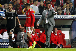 (l-r) Hakim Ziyech of Ajax, Franco Cervi of SL Benfica, coach Rui Vitoria of SL Benfica during the UEFA Champions League group E match between  SL Benfica and Ajax Amsterdam at Estadio La Luz on November 97, 2018 in Lisbon, Portugal