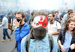 Demonstrators clash with police forces during a protest march against the government's labour law reform, in Paris, France on September 15, 2016. Photo by Alain Apaydin/ABACAPRESS.COM