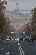 """Fog appears to have landed in the city centre of the Armenian capital Yerevan on Sunday, Dec 13, 2020. Armenian officials and Azerbaijan on Saturday accused each other of breaching a peace deal that ended six weeks of fierce fighting over Nagorno-Karabakh, with Azerbaijan's leader threatening to crush Armenian forces with an """"iron fist"""".<br /> Russian peacekeepers deployed to the region to monitor the peace deal reported a violation of the ceasefire in the Gadrut region on Friday. The report issued on Saturday by the Russian defence ministry did not assign blame. (VXP Photo/ Vudi Xhymshiti)"""