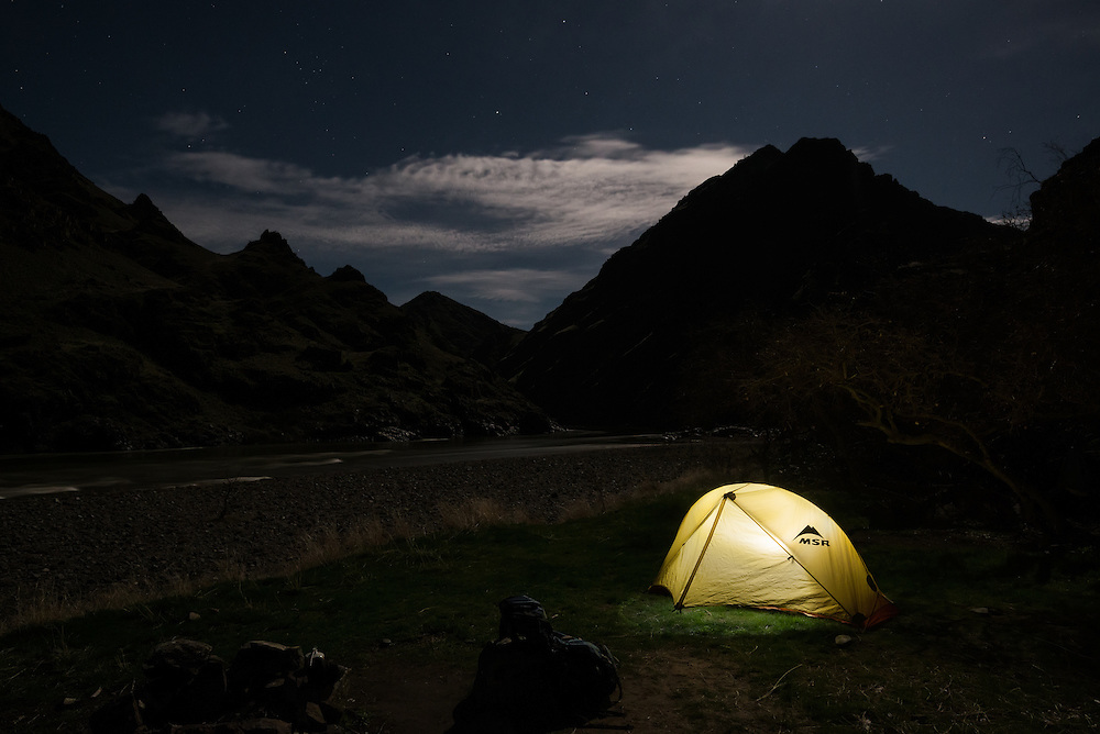 Glowing tent at a campsite in Hells Canyon on the border of Idaho and Oregon.