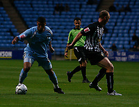Photo: Steve Bond.<br />Coventry City v Notts County. The Carling Cup. 14/08/2007. Leon Best (L) turns Adam Tann (R)